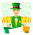 handsome man dressed as leprechaun vector image