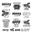 Set of honey labels badges and design elements vector image