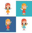 smiling cute girls in different dress on white vector image