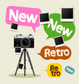 vintage camera on tripod with retro and new text vector image
