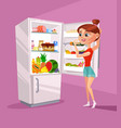 woman character near refrigerator thinking vector image