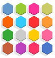 Flat blank web button hexagon icon set with shadow vector image