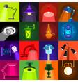lamp glow icons set flat style vector image