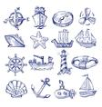 hand drawn boat and ship vector image