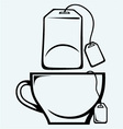 Tea bag and cup vector image vector image