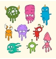 friendly cool cute hand-drawn monsters collect vector image