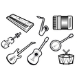 Acoustic and electric musical instruments vector image vector image