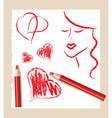 pencil sketch of red hearts and beautiful woman vector image