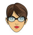 beauty face woman with glasses and short hair vector image