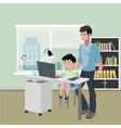 father with son doing homework on desktop computer vector image