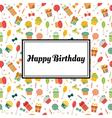 Happy Birthday greeting card Cute postcard vector image