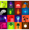 lamp glow icons set flat style vector image
