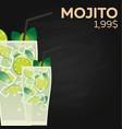 mojito price fast food restauran menu vector image