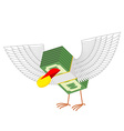 Money with wings eats gold coins vector image