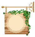 Wooden sign with ivy vector image