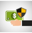 hand hold banknote shield protection vector image