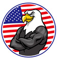 eagle mascot show the muscle with american flag vector image