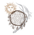Sun dream catcher and deer antler boho style vector image