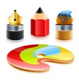 icons of art tools pen pencil vector image
