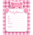 pink bear baby shower card vector image vector image