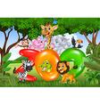 Word zoo with cartoon wild animal africa vector image