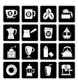 Black different types of coffee industry icons vector image