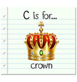 Flashcard letter C is for crown vector image