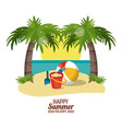 happy summer holidays poster sand bucket ball vector image