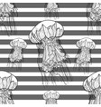 seamless monochrome pattern with jellyfish vector image