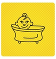 Baby in bath icon Toddler bathing sign vector image