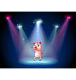 A stage with a pig at the center vector image vector image