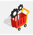 settings basket in online store isometric icon vector image