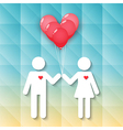 boy and girl with red heart balloons vector image