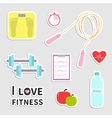Timer whater dumbbell apple jumping rope scale vector image