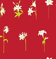 lilies sparse pattern on red vector image