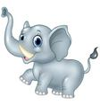 Cartoon funny baby elephant isolated on white back vector image