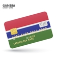 Credit card with Gambia flag background for bank vector image