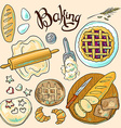 beautiful hand-draw color set of baking vector image