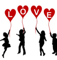 Children silhouettes with heart balloons and word vector image