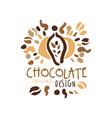 chocolate hand drawn original logo design vector image