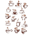 Coffee cups and mugs in doodle sketch style vector image