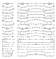 Doodle floral line bordersdividers brushes set vector image