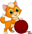 funny kitten with a ball of threads vector image