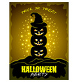 Halloween party poster with three pumpkins vector image