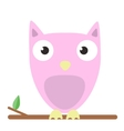 image of a cute pink owl on white vector image