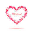 Pink heart made of the handprints vector image