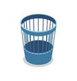plastic blue trash basket isometric 3d icon vector image