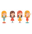 smiling cute girls in different clothes on white vector image