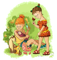 children play with toys mothers and daughters vector image