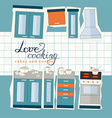 cooking set in flat design style vector image